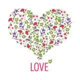 明亮的心脏由在传染媒介的莓果做成 免版税库存图片