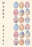 明亮的愉快的复活节卡片 在抽象种族样式的复活节彩蛋 时髦的假日背景 库存图片