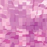 明亮的抽象桃红色几何正方形3D图酒吧砖样式,垂直的透视墙纸背景,大详细 库存照片