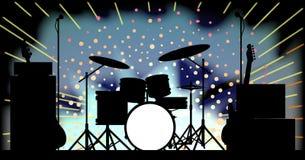 明亮的摇滚乐队阶段 库存图片