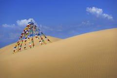 明亮的旗子在沙漠 免版税库存图片