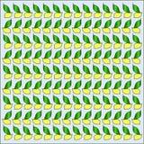 明亮的无缝的样式用黄色柠檬和绿色叶子 免版税库存图片