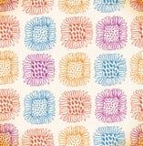 明亮的无缝的花卉样式 装饰逗人喜爱的背景用向日葵 手拉的乱画纹理 免版税库存图片