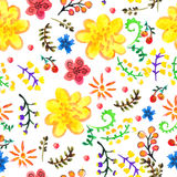 明亮的无缝的水彩颜色花卉背景 免版税库存照片