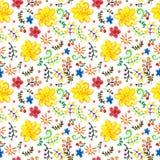 明亮的无缝的水彩颜色花卉背景 免版税图库摄影