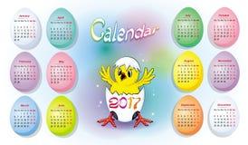 明亮的日历在2017年与婴孩鸡 免版税库存图片
