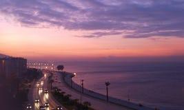 明亮的日落在伊兹密尔 库存图片