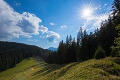 明亮的星期日 天空 瀑布 carpathians 山 星期日 库存图片