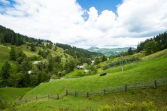明亮的星期日 天空 瀑布 carpathians 山 星期日 库存照片