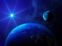 明亮的星照亮地球和月亮 免版税库存照片