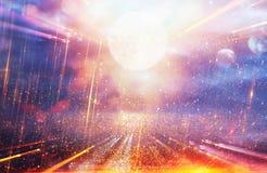 明亮的星系或幻想背景 摘要爆炸光 不可思议和奥秘概念 库存图片