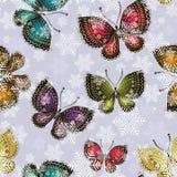 明亮的春天蝴蝶在一场多雪的旋风打旋 向量例证