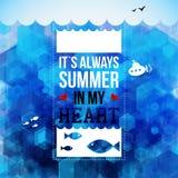 明亮的暑假海报。六角形背景。印刷术de 图库摄影