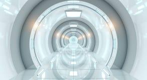 明亮的未来派太空飞船走廊3D翻译 免版税库存照片