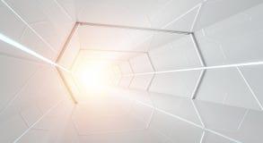明亮的未来派太空飞船走廊3D翻译 皇族释放例证