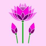 明亮的桃红色莲花装饰马赛克 库存照片
