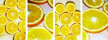 明亮的橙色水多的桔子裁减成圈子说谎 库存照片