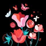 明亮的欢乐花卉卡片 皇族释放例证