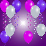 明亮的气球、颜色丝带和闪光 库存照片