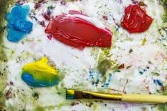 明亮的油漆调色板关闭的背景图象 库存图片