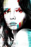 明亮的流行音乐艺术样式的海报美丽的女孩 免版税库存图片
