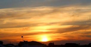 明亮的海日落的照片 免版税图库摄影