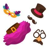 明亮的狂欢节打扮男人和妇女的元素 库存例证