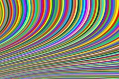 明亮的狭窄的线抽象背景在多色的弯的 向量例证