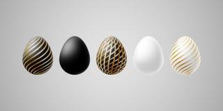 明亮的现代豪华复活节彩蛋套白色黑与螺旋线样式的金典雅的鸡蛋在一个轻的背景蛋设计 库存例证