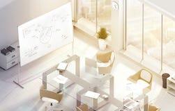 明亮的现代会议办公室室设计大模型, 3d翻译 免版税库存照片