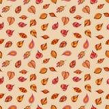 明亮的秋叶的无缝的样式在米黄背景的 免版税库存图片