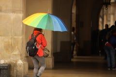 明亮的秋天衣裳的一个女孩有彩虹步行的所有颜色一把大伞的在城市在雨中 同性恋游行  免版税库存照片