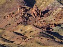 明亮的红色和棕色花山坡的片段,在那里倾斜中间是石神象,喜马拉雅山 免版税库存图片