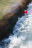 明亮的红色气球被困住的流动的河 免版税图库摄影