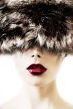 明亮的红色嘴唇组成 免版税库存图片