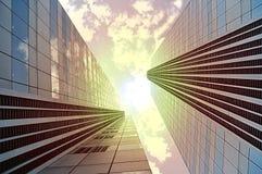 明亮的经济展望 晴朗花花公子块现代的办公室 免版税库存图片