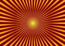 明亮的背景 与金黄分歧光芒的红色背景 向量例证