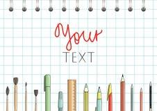明亮的色的文具或学校用品元素 向量例证