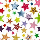 明亮的色的星背景 无缝的模式 免版税库存图片