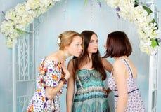 明亮的色的礼服的年轻,美丽和情感女孩 女孩闲话 库存照片