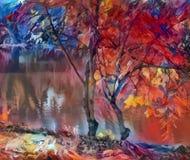 明亮的艺术,在河的秋天树,红蓝色 库存照片