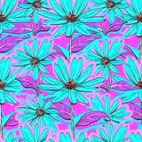 明亮的花卉无缝的样式,墙纸春黄菊,手拉的雏菊,水多的背景 库存照片