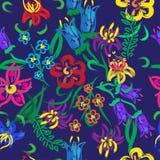 明亮的花 无缝的模式 免版税库存图片