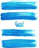 明亮的蓝色丙烯酸酯的刷子冲程 库存照片