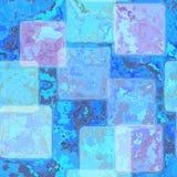 明亮的蓝色弄脏了与羊皮纸框架的瓦片背景在与葡萄酒纹理的边界 免版税库存照片