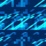 明亮的蓝色抽象几何装饰品无缝的样式 免版税图库摄影
