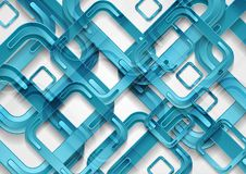 明亮的蓝色抽象技术几何背景 免版税库存图片