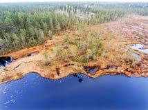 明亮的蓝色湖鸟瞰图沼泽的在拉普兰 库存图片