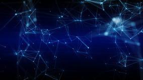 明亮的蓝色表面的抽象未来派3D例证与连接的小点的 库存图片