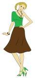 明亮的衣裳的一个美丽的女孩 免版税库存图片